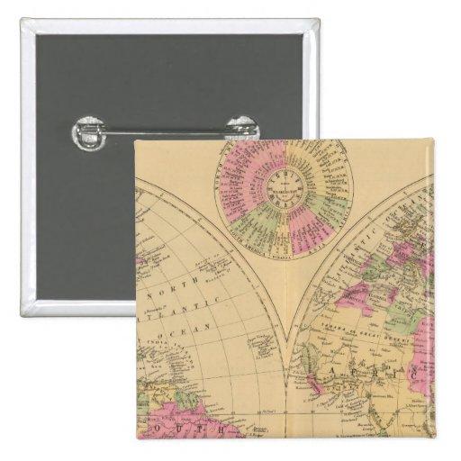 Mapa litografiado coloreado mano del mundo pin