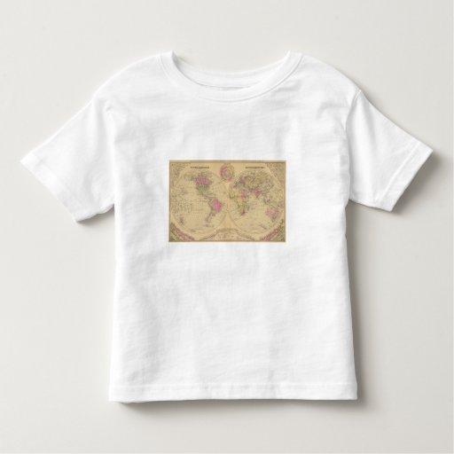 Mapa litografiado coloreado mano del mundo playeras