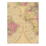 Mapa litografiado coloreado mano del mundo tarjeta postal