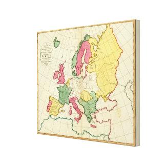 Mapa llano Europa Impresión En Lienzo