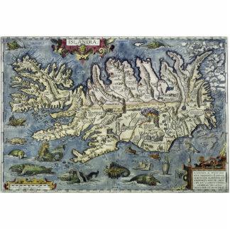 Mapa lleno de Ortelius Islandia con los monstruos Esculturas Fotográficas