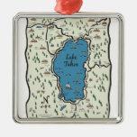 Mapa lleno del área del lago Tahoe Ornamentos De Reyes