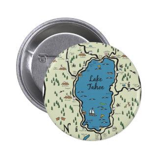 Mapa lleno del área del lago Tahoe Pin Redondo 5 Cm