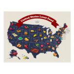 Mapa local de la comida de Estados Unidos Tarjetas Postales