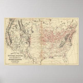 Mapa los E.E.U.U. del ferrocarril Póster