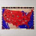 Mapa los Estados Unidos de América, los E.E.U.U. d Poster