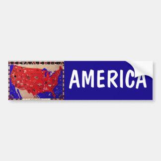 Mapa los Estados Unidos de América, los E.E.U.U. Pegatina Para Auto