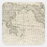 Mapa magnético del mundo pegatina cuadrada