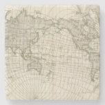Mapa magnético del mundo posavasos de piedra