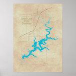Mapa magnífico 2 de la AUTORIZACIÓN del lago Póster