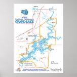 Mapa magnífico de la AUTORIZACIÓN del lago Póster