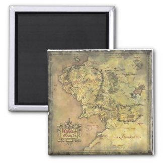 Mapa medio de la tierra imán cuadrado