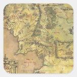 Mapa medio de la tierra pegatinas cuadradases