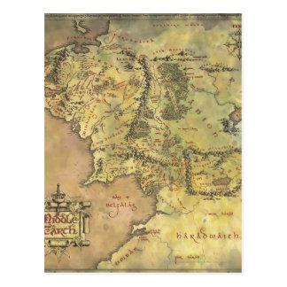 Mapa medio de la tierra tarjetas postales
