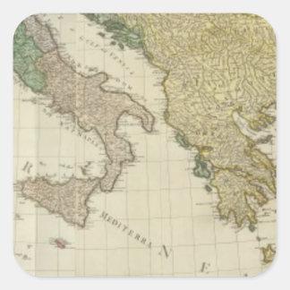Mapa mediterráneo compuesto del atlas pegatina cuadrada