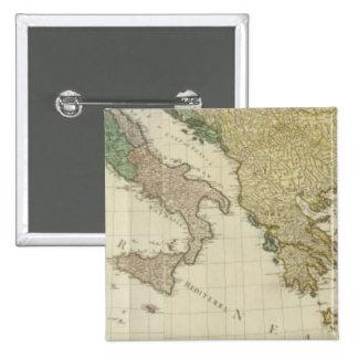 Mapa mediterráneo compuesto del atlas pin cuadrado