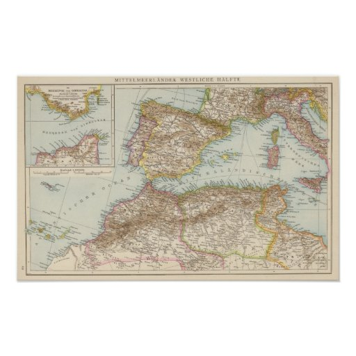 Mapa mediterráneo occidental póster