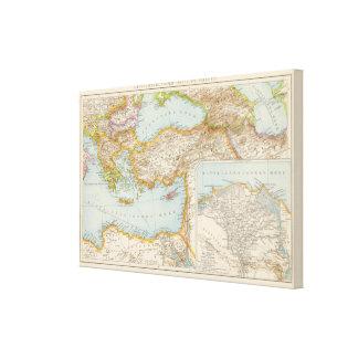 Mapa mediterráneo oriental impresiones en lona