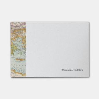 Mapa mediterráneo oriental post-it notas