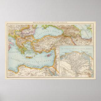 Mapa mediterráneo oriental poster