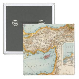 Mapa mediterráneo oriental pin cuadrado