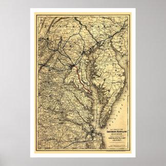 Mapa meridional 1881 del ferrocarril de Maryland Posters