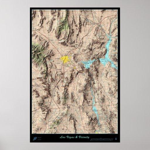Mapa meridional de Nevada, poster del satélite de