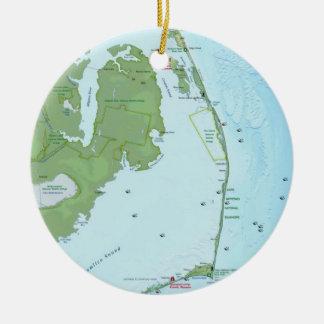 Mapa meridional de Outerbanks Adorno Navideño Redondo De Cerámica
