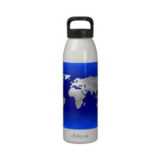 Mapa metálico de la tierra botellas de beber