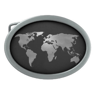 Mapa metálico de la tierra hebilla de cinturón oval