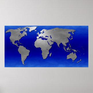 Mapa metálico de la tierra póster