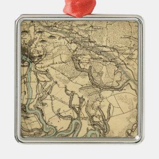 Mapa militar de Hughes de Richmond y de Adorno Cuadrado Plateado