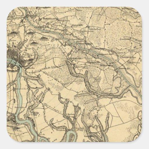 Mapa militar de Hughes de Richmond y de Calcomanía Cuadradas Personalizada