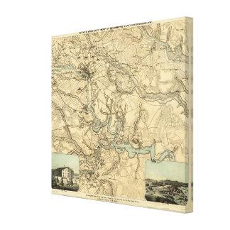 Mapa militar de Hughes de Richmond y de Petersburg Impresiones En Lona Estiradas