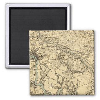 Mapa militar de Hughes de Richmond y de Petersburg Imanes De Nevera