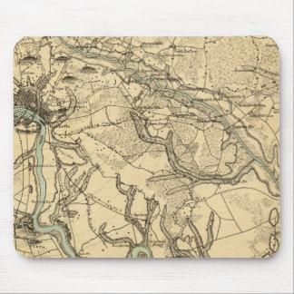 Mapa militar de Hughes de Richmond y de Petersburg Alfombrillas De Ratones