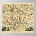 Mapa militar de Hughes de Richmond y de Petersburg Impresiones