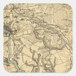 Mapa militar de Hughes de Richmond y de Petersburg Calcomania Cuadradas Personalizadas