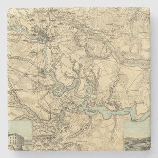 Mapa militar de Hughes de Richmond y de Petersburg Posavasos De Piedra