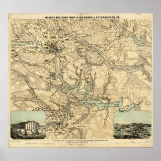 Mapa militar de Hughes de Richmond y de Petersburg Póster