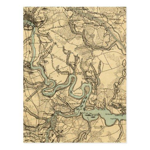 Mapa militar de Hughes de Richmond y de Petersburg Postales