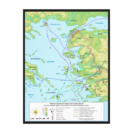 Mapa militar de la campaña jónica de la rebelión lienzo envuelto para galerías