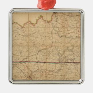 Mapa militar de los estados de Kentucky Adorno Cuadrado Plateado