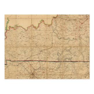 Mapa militar de los estados de Kentucky Postales