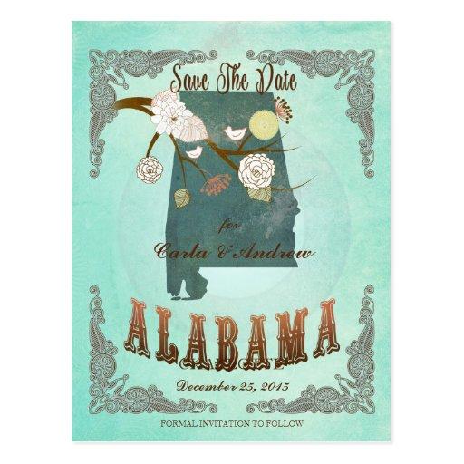 Mapa moderno del estado de Alabama del vintage - a Postales