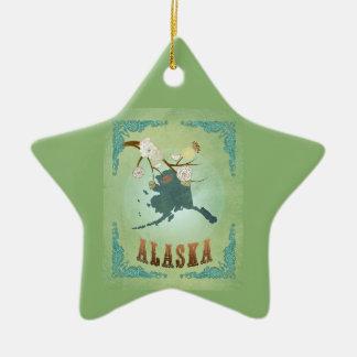 Mapa moderno del estado de Alaska del vintage - Adorno De Cerámica En Forma De Estrella