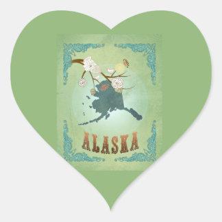Mapa moderno del estado de Alaska del vintage - Pegatina En Forma De Corazón