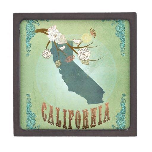 Mapa moderno del estado de California del vintage  Cajas De Joyas De Calidad