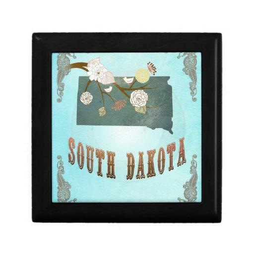 Mapa moderno del estado de Dakota del Sur del vint Cajas De Regalo