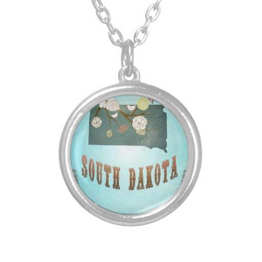 Mapa moderno del estado de Dakota del Sur del vint Colgante Redondo